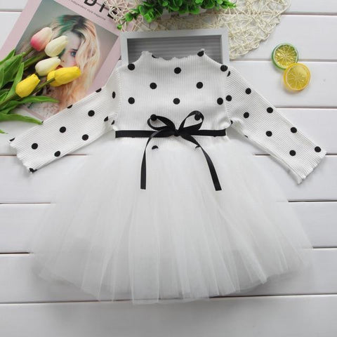 Image of Little Bumper Girls Clothes White / Newborn Long Sleeve Dotted Baby Girl Dress