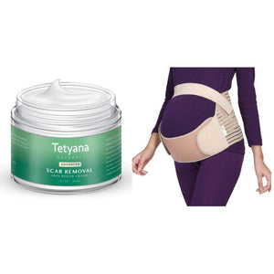 Little Bumper Health Safety 2 Pack Pregnancy Support Maternity Belly Band & 1 Tetyana Naturals Scar Removal & Skin Repair Cream
