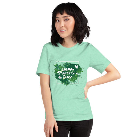 "Image of Little Bumper Heather Mint / M ""Happy St. Patrick's Day"" Short-Sleeve Unisex T-Shirt"