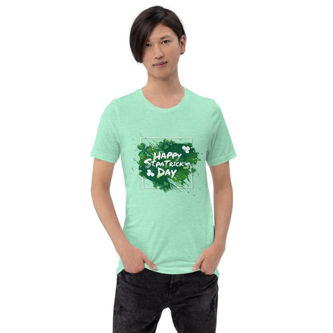 "Image of Little Bumper Heather Mint / S ""Happy St. Patrick's Day"" Short-Sleeve Unisex T-Shirt"