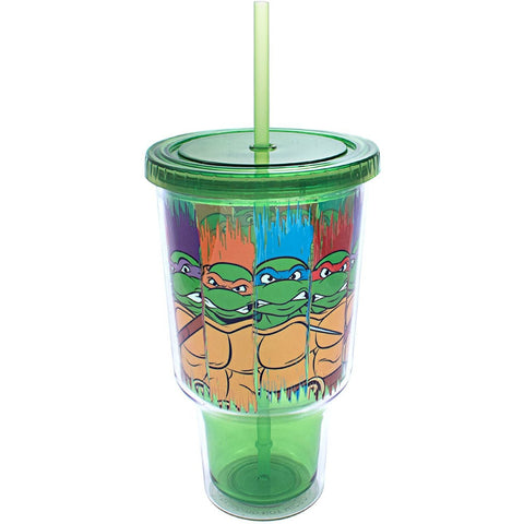 Image of Little Bumper Kids & Babies 2 Pack Marvel Spider-Man Head Shaped Tin & TMNT Character Jumbo Cold Cup with Lid and Straw