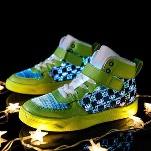 Little Bumper Kids Shoes Green-B / 11.5 Fiber Optic USB Rechargeable Glowing Shoes