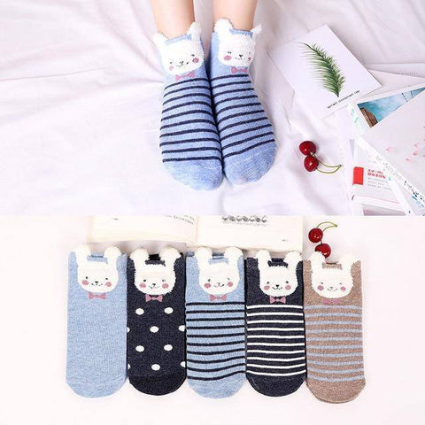 Little Bumper Kids Socks XG26 / 5Pairs(for6-12years) / United States Kids Soft Cotton Seamless Ankle Socks - 5 Pairs