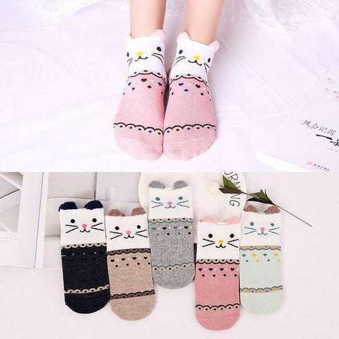 Little Bumper Kids Socks XG28 / 5Pairs(for6-12years) / United States Kids Soft Cotton Seamless Ankle Socks - 5 Pairs