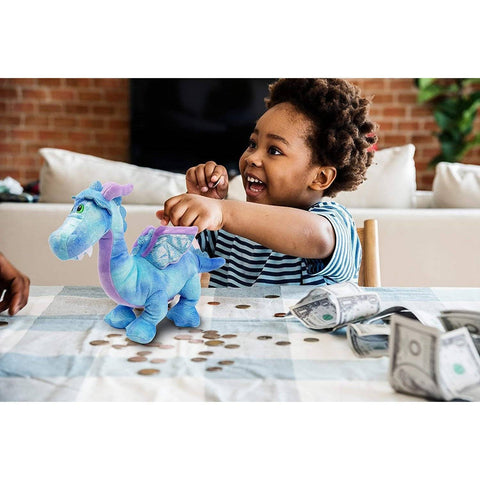 Little Bumper Kids Toys Blue Dragon Plush Coin Bank Toy