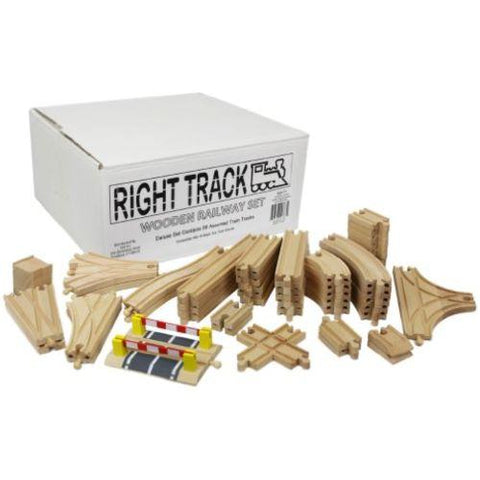 Image of Little Bumper Kids Toys Deluxe Wooden Train Track Set