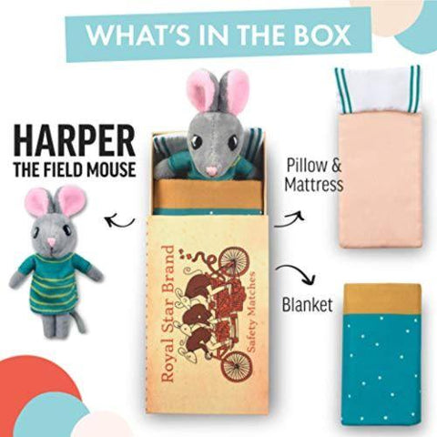 Little Bumper Kids Toys 'Harper The Field Mouse' Match Box Bed Playset