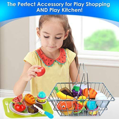 Image of Little Bumper Kids Toys Kids Toy Stainless Steel Grocery Cart with Cuttable Play Kitchen Food