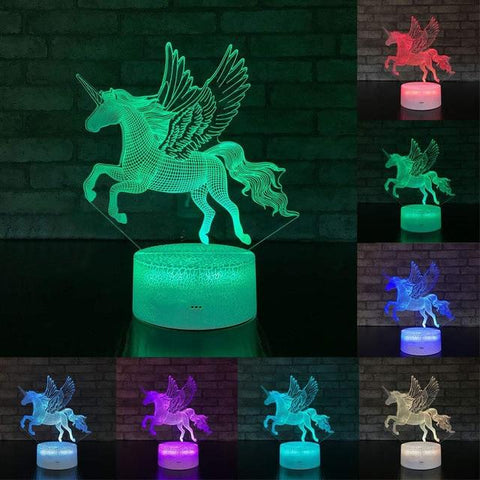 Image of Little Bumper Kids Toys KX72 / 16 Color Remote / United States 3D LED Night Light Unicorn Shaped Table Desk Lamp