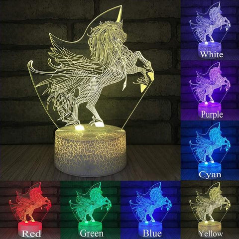 Image of Little Bumper Kids Toys KX73 / 16 Color Remote / United States 3D LED Night Light Unicorn Shaped Table Desk Lamp
