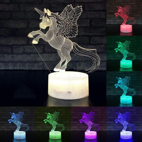 Image of Little Bumper Kids Toys KX74 / 16 Color Remote / United States 3D LED Night Light Unicorn Shaped Table Desk Lamp