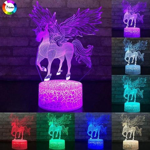 Image of Little Bumper Kids Toys KX757 / 16 Color Remote / United States 3D LED Night Light Unicorn Shaped Table Desk Lamp