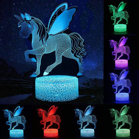 Image of Little Bumper Kids Toys S59 / 16 Color Remote / United States 3D LED Night Light Unicorn Shaped Table Desk Lamp