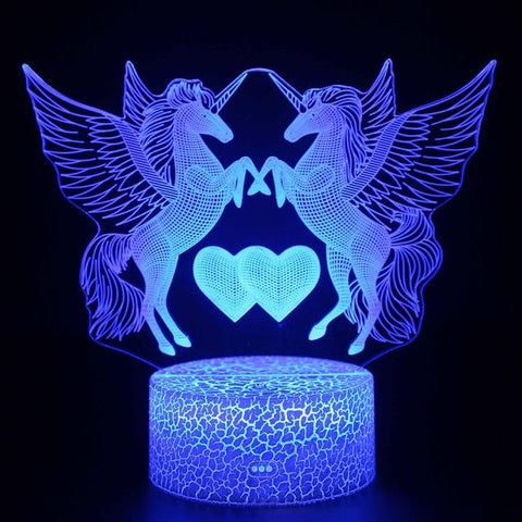 Image of Little Bumper Kids Toys S61 / 16 Color Remote / United States 3D LED Night Light Unicorn Shaped Table Desk Lamp