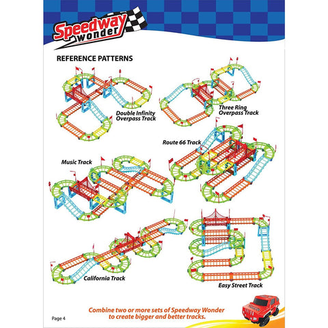 Little Bumper Kids Toys Speedway Wonder 92 Piece Car Track Toys