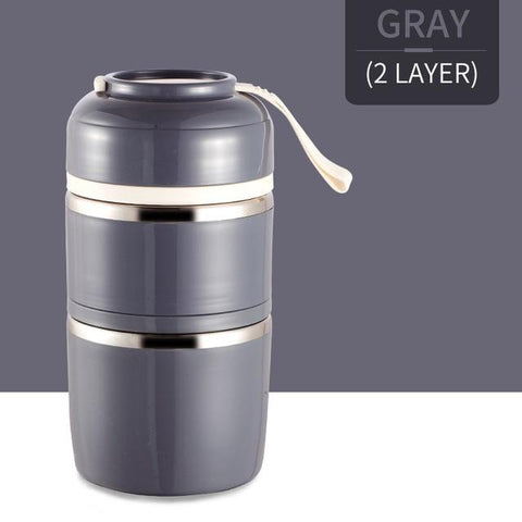 Image of Little Bumper Kitchen Dining 2 Layer / With Gray Bag Kids Portable Stainless Steel Bento Box