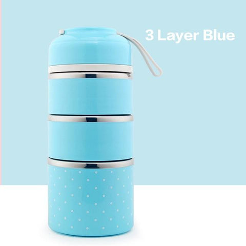 Image of Little Bumper Kitchen Dining 3 Layer 2 / With Blue Bag Kids Portable Stainless Steel Bento Box