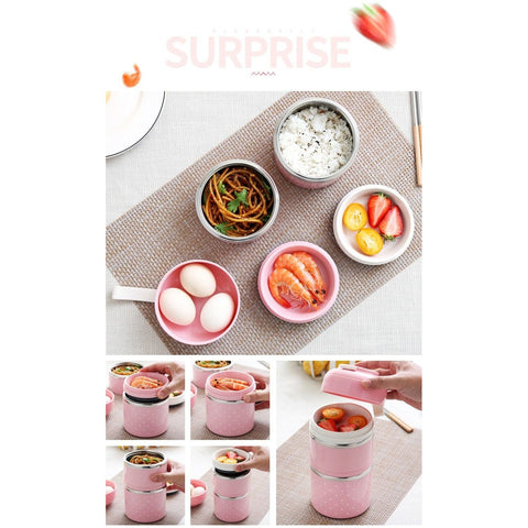 Image of Little Bumper Kitchen Dining Kids Portable Stainless Steel Bento Box