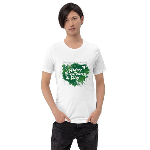 "Image of Little Bumper White / M ""Happy St. Patrick's Day"" Short-Sleeve Unisex T-Shirt"