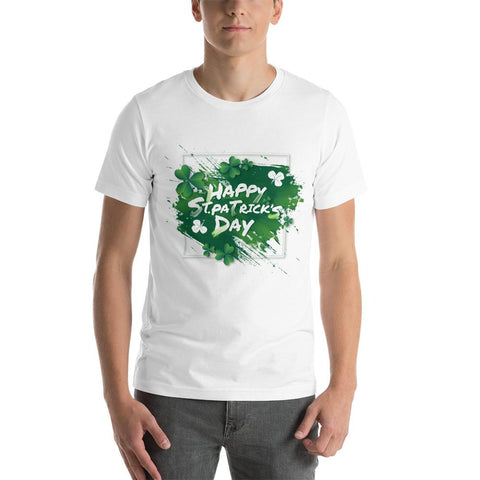 "Image of Little Bumper White / S ""Happy St. Patrick's Day"" Short-Sleeve Unisex T-Shirt"