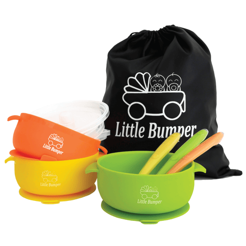 Image of MyLittleBumper Feeding Orange-Yellow-Green Little Bumper Bowls and Spoons Set