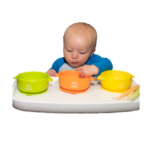 MyLittleBumper Feeding Orange-Yellow-Green Little Bumper Bowls and Spoons Set
