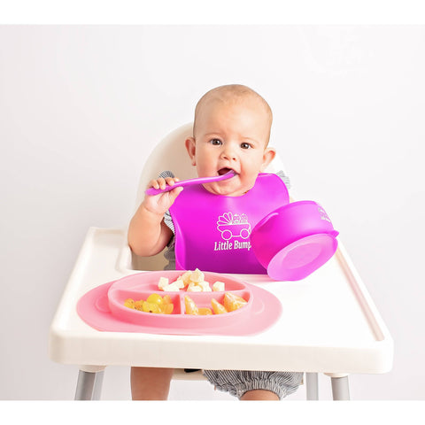 Image of MyLittleBumper Feeding Pink-Purple Little Bumper Silicone Baby Feeding Set