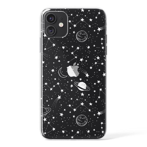 Transparent White Planets & Stars Pattern