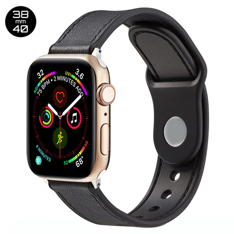 Black TPU Leather iWatch Band 38/40mm