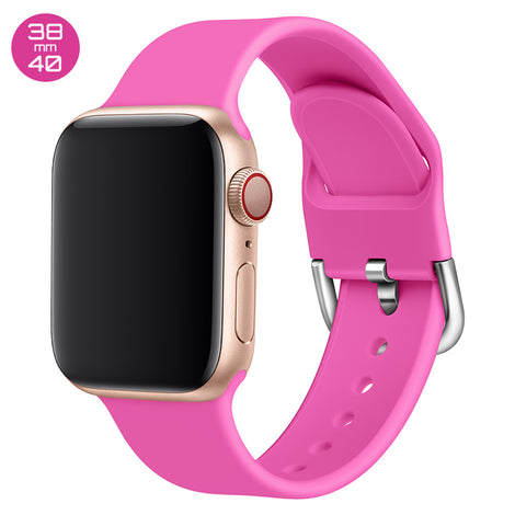 Hot Pink Silicone iWatch Band with D Buckle 38/40mm