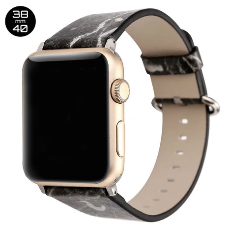 Black Marble Print Leather iWatch Band 38/40mm