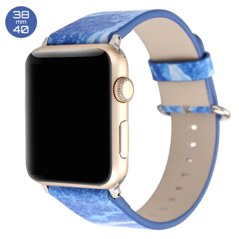 Blue Marble Print Leather iWatch Band 38/40mm