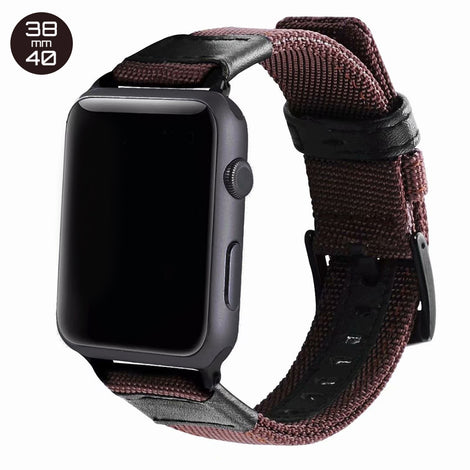 Brown Nylon & Leather iWatch Band 38/40mm