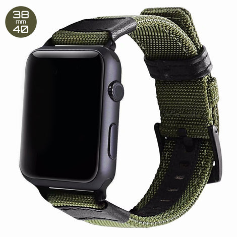 Green Nylon & Leather iWatch Band 38/40mm