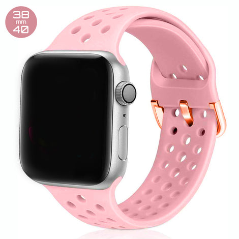 Pink Breathable Silicone iWatch Band 38/40mm