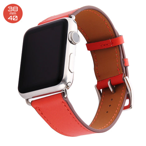 Red Single Tour Leather iWatch Band 38/40mm