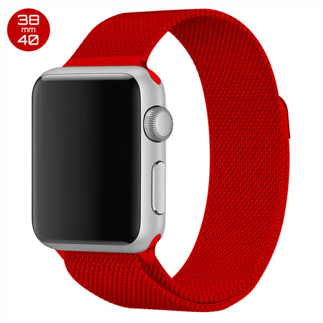 Red iWatch Milanese Stainless Steel Loop Band 38/40mm
