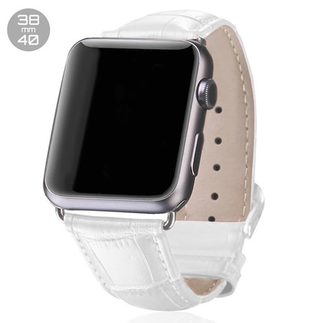 White Crocodile Leather iWatch Band 38/40mm