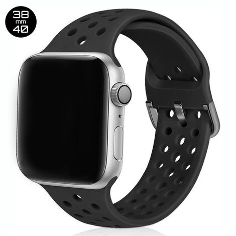 Black Breathable Silicone iWatch Band 38/40mm