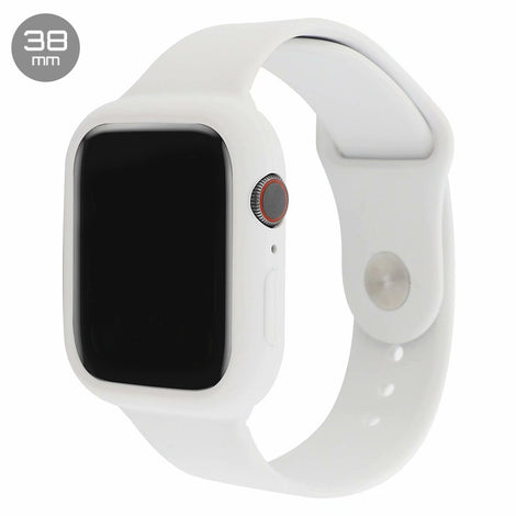 White Silicone iWatch Band with Case 38mm