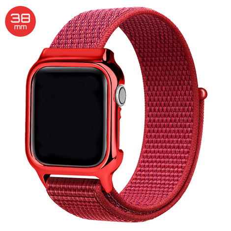 Red Nylon iWatch Band with Case 38mm