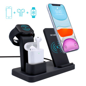 3-in-1 Wireless Charger for iPhone, Airpods, and iWatch (Stand)