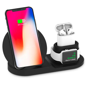 3-in-1 Wireless Charger for iPhone, Airpods, and iWatch (Flat)