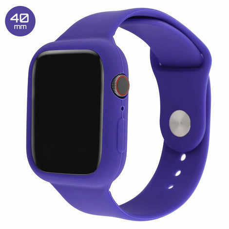 Purple Silicone iWatch Band with Case 40mm