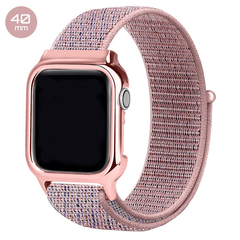 Pink Sand Nylon iWatch Band with Case 40mm