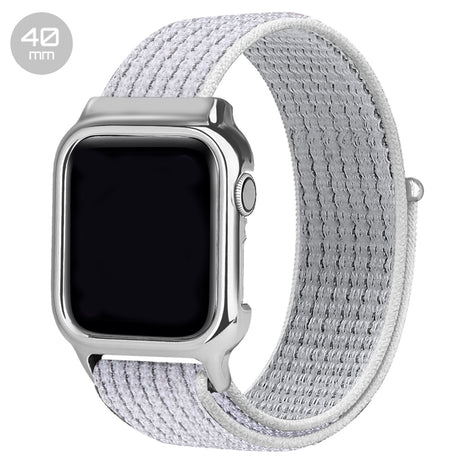 White Reflector Nylon iWatch Band with Case 40mm