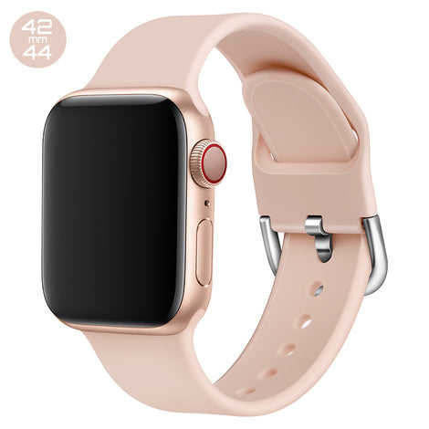 Rose Pink Silicone iWatch Band with D Buckle 42/44mm
