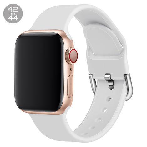 White Silicone iWatch Band with D Buckle 42/44mm