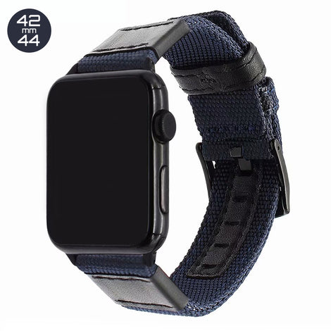 Blue Nylon & Leather iWatch Band 42/44mm