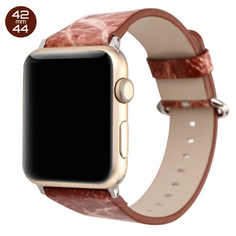 Brown Marble Print Leather iWatch Band 42/44mm